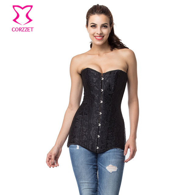 b8943cfd019 Long Steel Boned Black Corset Top Women Corsets Bustiers Sexy Espartilhos E  Corpetes Gothic Clothing Burlesque