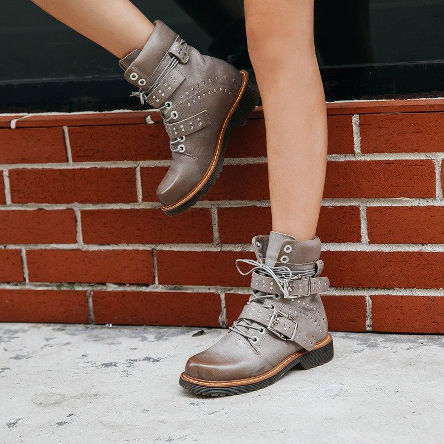 Prova Perfetto rivet ceinture boucle à lacets femmes bottines en cuir véritable gladiateur martin bottes plate forme caoutchouc bottes courtes - 3