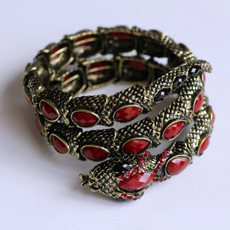 Fashion Snake Wrapped Around Wrist Bracelet Armlet Upper Arm Cuff Punk Rock Semi-precious Stone Bangle Unisex Hallowmas Jewelry