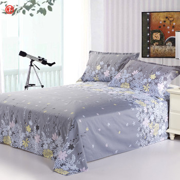 Home textile sheet set 3pcs/set(one flat sheet +two pillowcases) 100%cotton flower printed mattress cover bed clothes bedspread