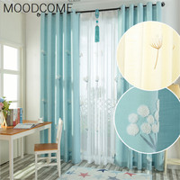 Blue children bedroom curtains dandelion Korean pastoral lin embroidery curtains living room bedroom shade curtains floorwindows