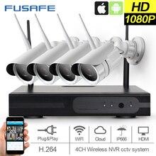 FUSAFE 4CH Wireless NVR Kit P2P1080P HD Outdoor IR Nigh Vision Security IP Camera 2MP WIFI CCTV System Surveillance cameras