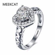 5652e7e954ea Meerkat Corazón de lujo anillos de compromiso para las mujeres joyería  clásico de oro blanco de Color cúbicos Zirconia boda anil.