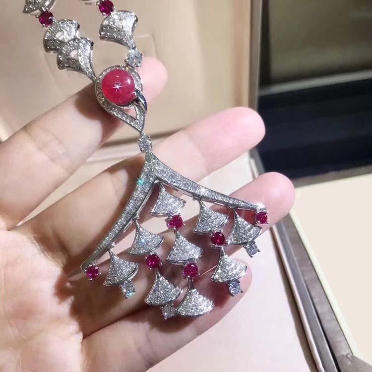 925 argent sterling zircone cristal rouge pierre naturelle ventilateur pendentif colliers fête bijoux anime pour les femmes-in Pendentifs de collier from Bijoux et Accessoires    1