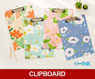 A4 Flowers Printed Clipboard as Writing Pad for School Office Writing Supplies , Document Paper Clips