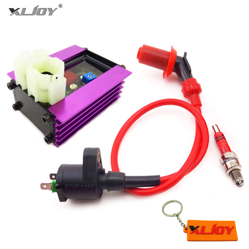 US $20 8 20% OFF|Racing Adjuster AC CDI + GY6 Ignition Coil + 3 Electrode  A7TC Spark Plug For GY6 50cc QMB139 125cc 150cc ATV Quad Scooter Moped-in