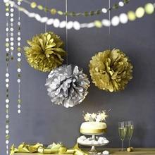 10pcs/set  Metallic Gold/Silver  Tissue Paper Pom Poms - Hanging Decorations For Wedding Party Festival Decor metallic color cheerleader pom poms w plastic handle deep pink