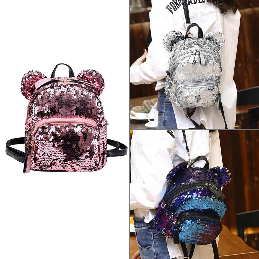 944205b38916 ... Shining Women Sequins Backpacks Teenage Girls Travel Large Capacity Bags  Portable Party Mini School Bags Shoulder ...