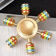 JX 6 Rainbow Fidget Spinner Finger Spinner Hand Spinner Brass Spiner Comes With Metal Box Anti
