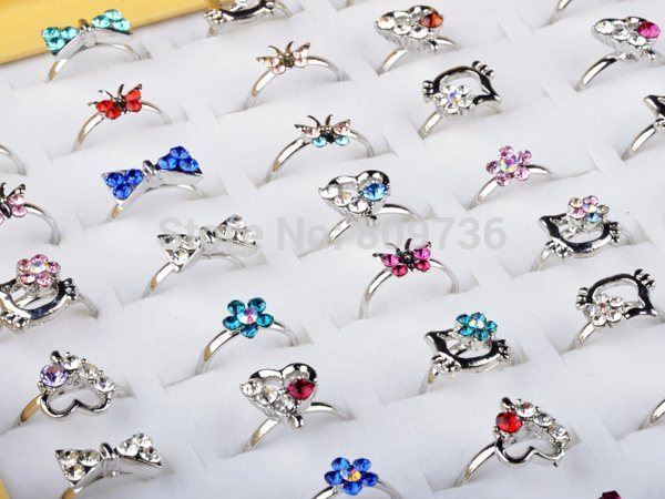10pcs Wholesale Lot Silver Plated Assorted Heart Design Crystal Flower Butterfly