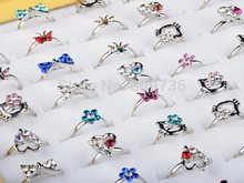 10pcs Wholesale Lot Silver Plated Assorted Heart Design Crystal Flower Butterfly Ring Cute Kid Child Rings Party Adjustable Gift