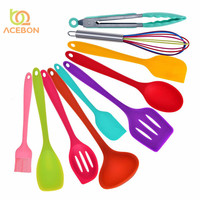 10pcs set Silicone non stick Colorful Baking Utensils Set Kitchen Accessories Cooking utensil Tools kitchen tools by ACEBON