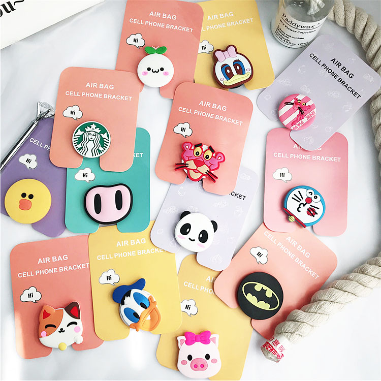 Air Bag Cell Phone Bracket Cute Stitch Pooh Ryan Mickey Minnie Phone Stand Finger Holder For IPhone Samsung Huawei Universal