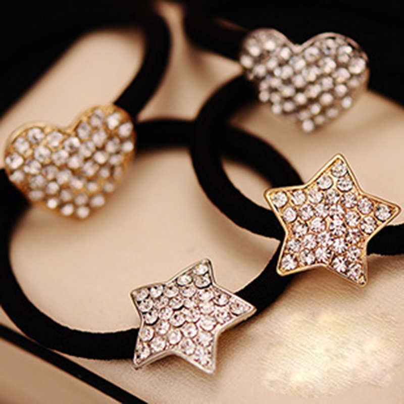 Heart Star Alloy Rhinestone Elastic Hair Bands Ponytail Holders Headwear Hair Accessories for Women