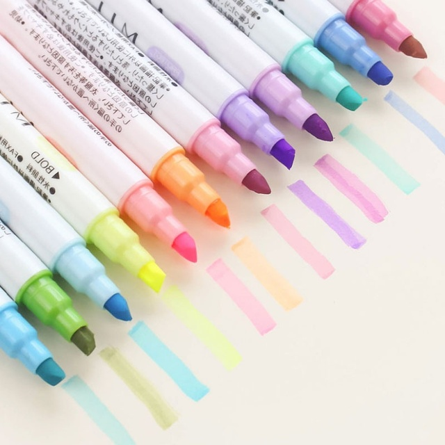 12 kleuren Mildliner Pen Set Double Headed Ronde Neus/Schuine Pastel Markeerstift Kawaii Japanse Briefpapier School Tool