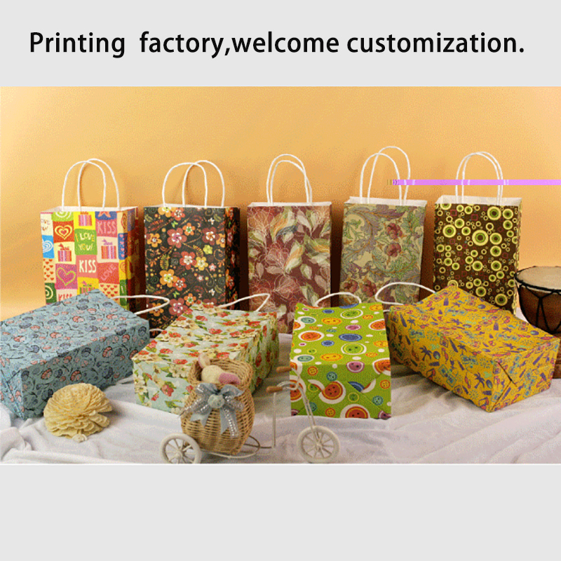 Flower Gift Bag White Kraft Paper Bags For Wedding Party Shopping Festive Gift Cloth Holder Bags Chocolate Candy Packing