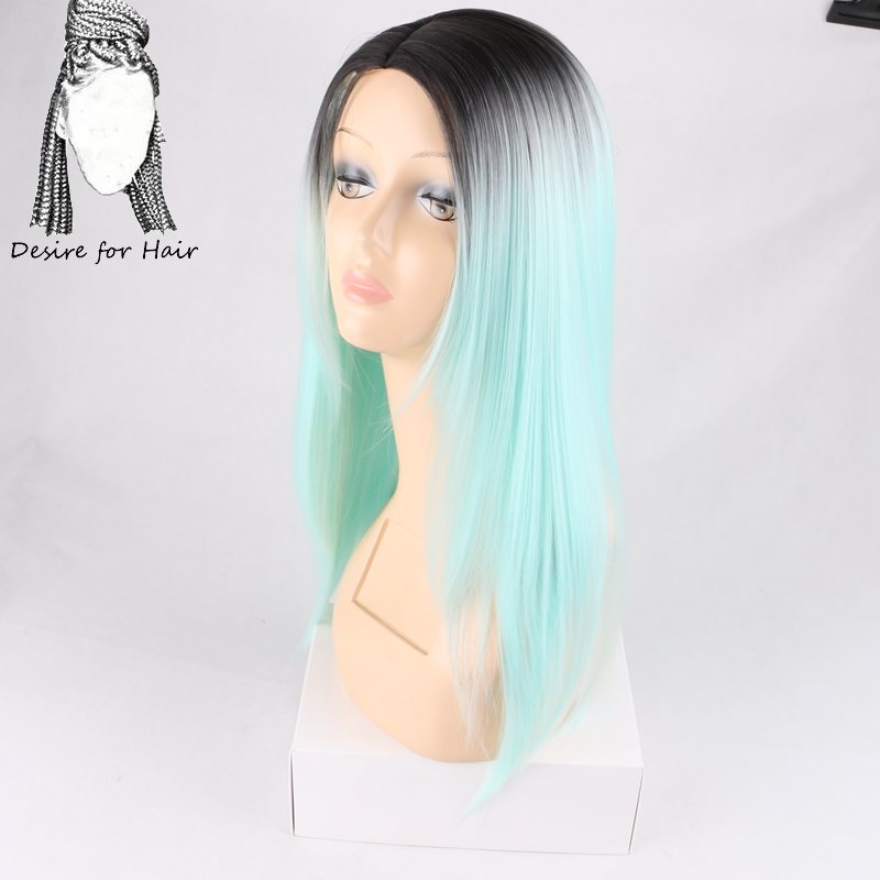 Desire For Hair 1pc 26inch Long Ombre Aqua Brown Grey Color Silky