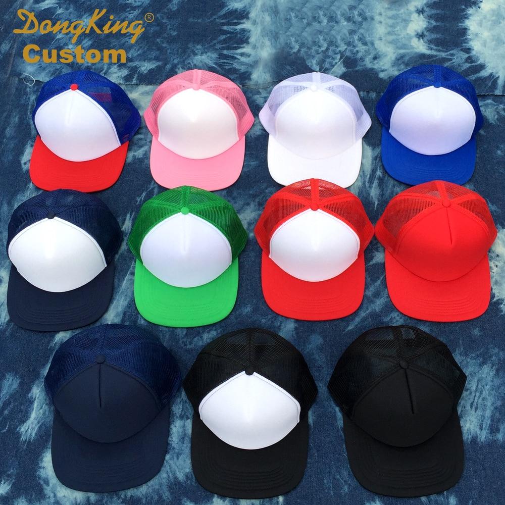 6ef1606a62212 Custom Trucker Hat Flat Bill Visor Free Logo Men Women Summer Snapback Caps  Sports Team Group ...