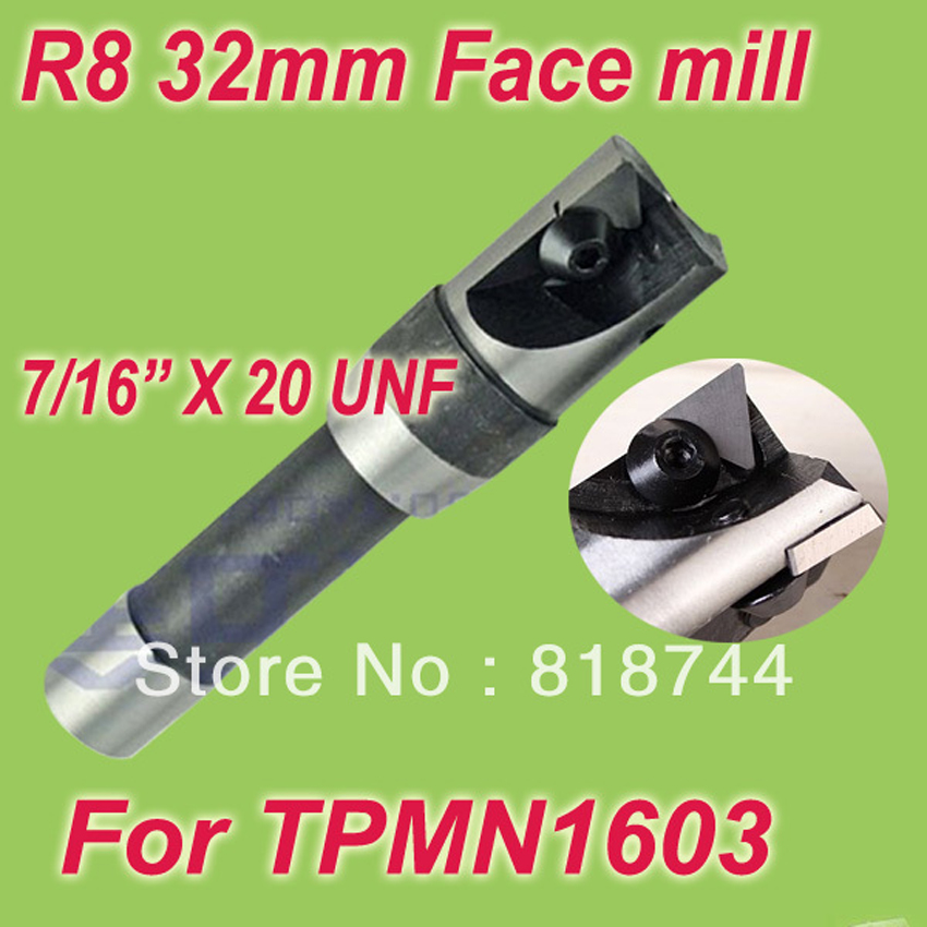 Free Shiping R8 7/16'' Size 1-1/4''  75 Degree Inserted Shoulder Cutter Face mill Holder 32mm With 2pcs Free TPMN16 Inserts New недорого