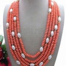 N121712 отлично! 5 нитей жемчужное и Коралловое ожерелье