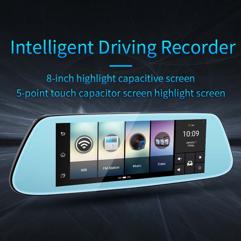 4G Touch IPS Car DVR Camera 8 inch FHD 1080p Android 5.1 Mirror GPS Bluetooth WIFI Newest Video Recorder Dash Cam Dual Lens
