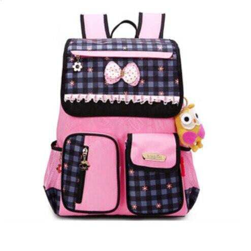 korean style school backpack for girls cute pink plaid bag kids school bag orthopedic backpacks for children girl schoolbag