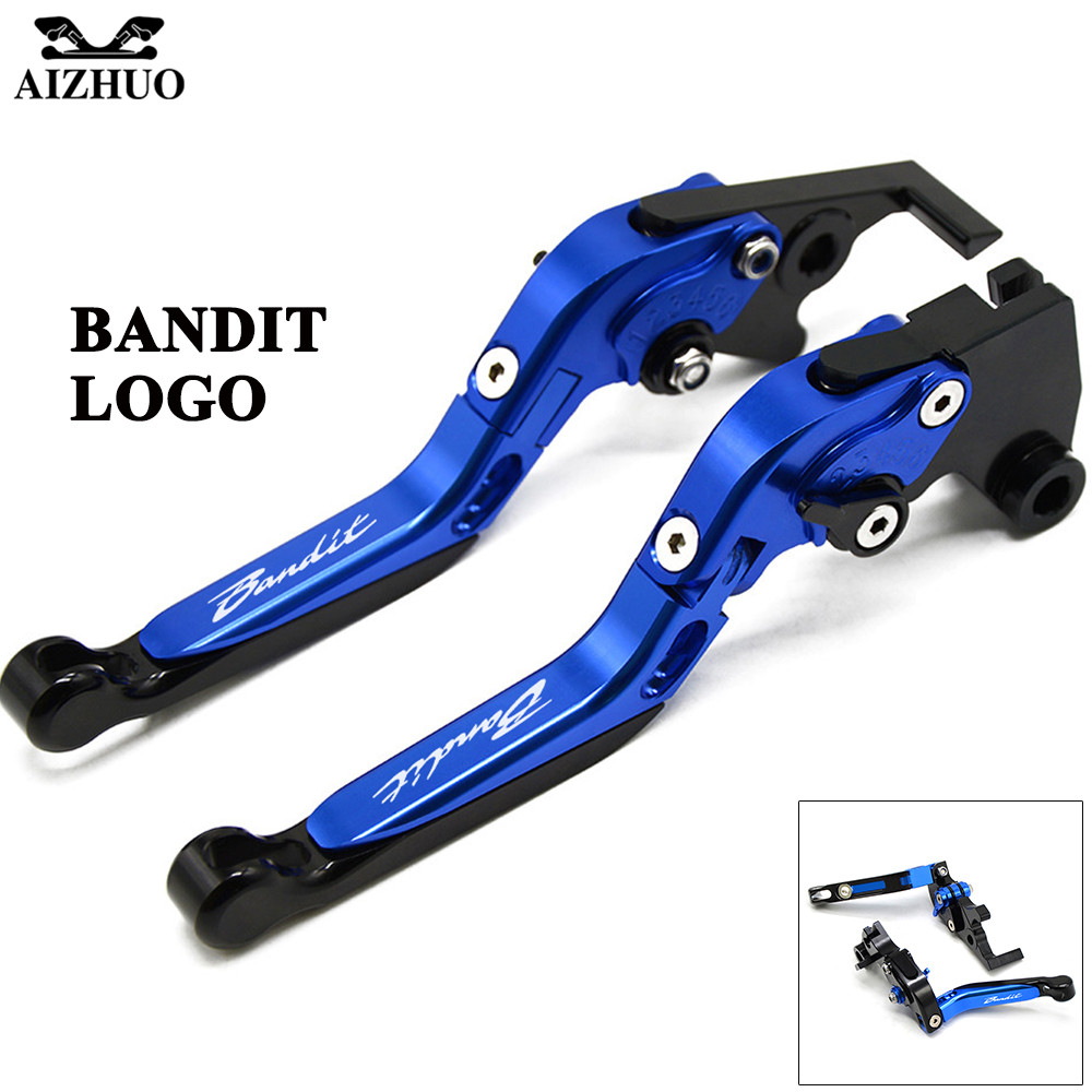 For Suzuki Bandit 1200 2001-2006 1250 2007-2015 With Bandit LOGO Motorcycle Clutch Brake Lever Aluminum Extendable Adjustable cnc 6 position folding foldable extendable brake clutch lever for suzuki bandit 1200 2001 2006