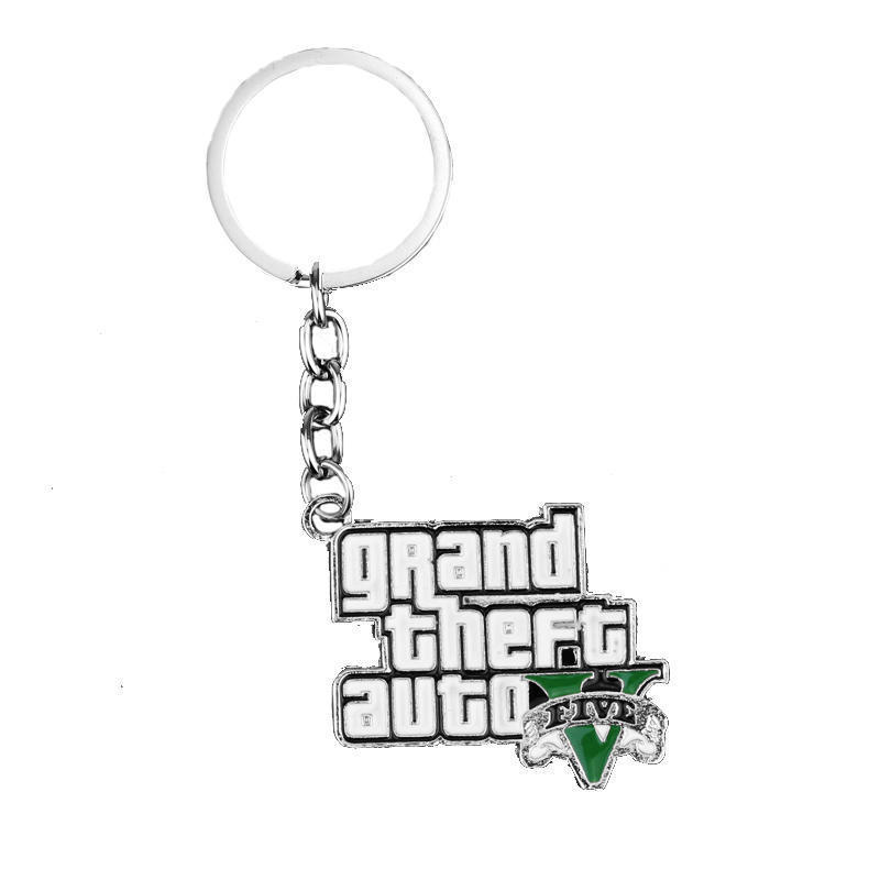 Silver Plated PS4 GTA 5 Game Keychain Grand Theft Auto 5 Fashion Enamel Pendant Metal Keyring Llaveros For Men And Woman Fans