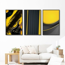 Abstract Minimalist Black and Yellow Geometric Canvas Painting Wall Art Picture Poster Prints Nordic Decoration Home