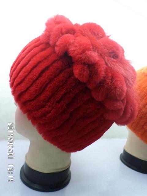 Red flowers hat fur of rabbit real fur women cap winter warm fashion hat freeshipping
