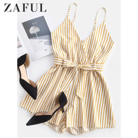 ZAFUL Self Tie Waist Striped Cami Romper 2019 Mid Waist Sleeveless Casual Playsuit Summer Belted Straight Leg Women Romper