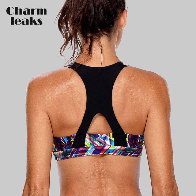 c4ee34ff6 Charmleaks Women s Mid Impact Sports Bra Padded Support Yoga Bra Breathable  Running Workout Racerback Sports Top