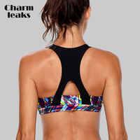 Charmleaks frauen der Mittleren Auswirkungen Sport Bh Gepolsterte Unterstützung Yoga Bh Atmungsaktive Lauf Workout Racerback Sport Top