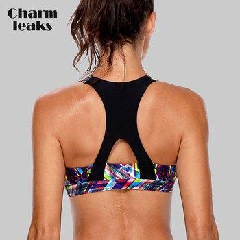 Charmleaks vrouwen Mid Impact Sport Bra Padded Ondersteuning Yoga Beha Ademend Running Workout Racerback Sport Top