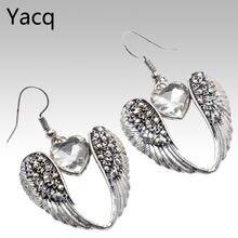 Серьги подвески yacq в форме сердца с крыльями античное серебро