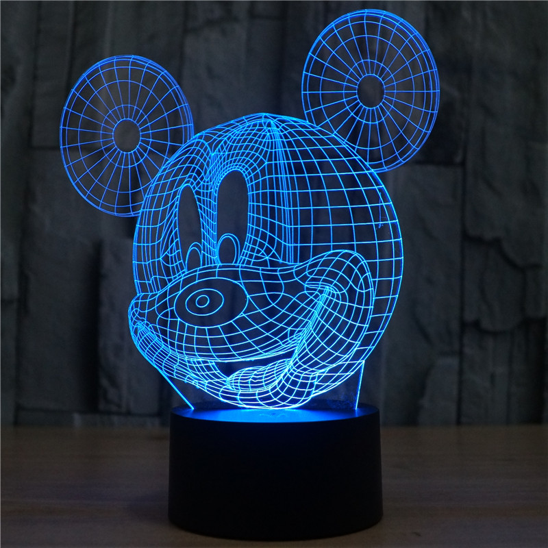 Mickey Mouse Nachtkastje.Cartoon Mickey Mouse 3d Baby Nachtverlichting Led Tafel Nachtkastje