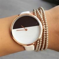 Simple Style Ladies Fashion Quartz Watch Women Bracelet Leather Casual Women S Watch Black And White