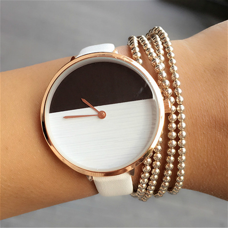 Simple Style Ladies Fashion Quartz Watch Women Bracelet Leather Casual Women S Watch Black And White