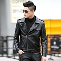 2017 New Slim short design male leather clothing motorcycle thin leather jacket leather coat