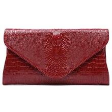 Mujeres patrón de cocodrilo bolso Genuino de Cuero de lujo Embragues bolsos de las mujeres bolsas de mensajero diseñador bolsas crossbody