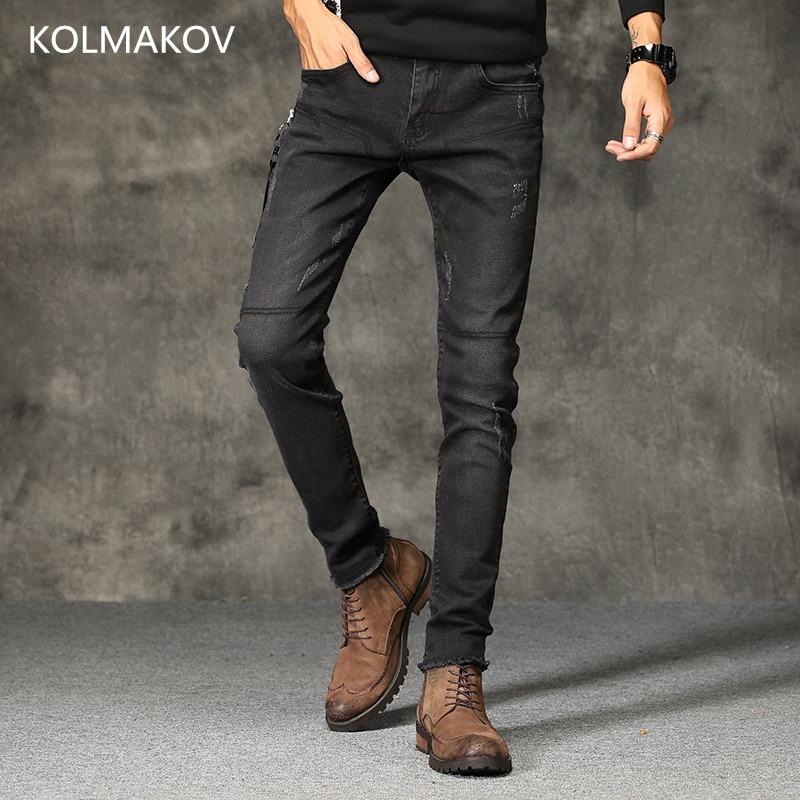2019 Fashion Long Jeans Men Black Pencil Pants Top Quality Trousers Slim Autumn Denim Elastic Straight Pants Men's Casual Jeans