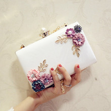 2019 Clutch Women Handmade Flowers Evening Bags Mini Ladies Purse Wedding Party Pink White Red Luxury