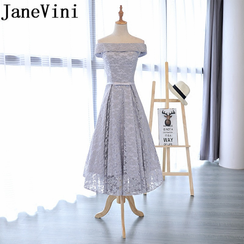 JaneVini 2018 Simple Lace Long Bridesmaid Dresses A Line Boat Neck Lace-up Back Ankle Length Maid Of The Honor Gowns Plus Size
