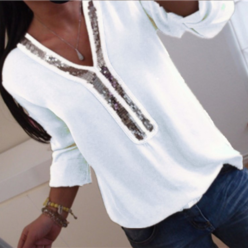 Women Sexy V-neck Sequins Chiffon Blouse Shirt Spring Summer Elegant Office Lady Blouses Tops Plus Size S-5XL blusa feminina(China)