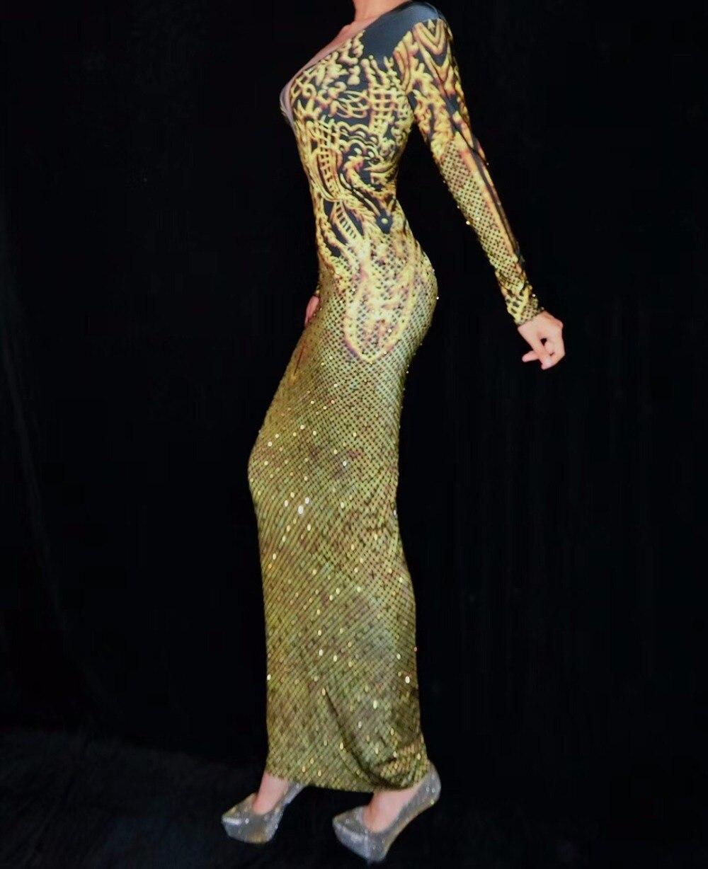 Or Chanteuse Danse Discothèque Anniversaire Costume Strass De Stade Célébrer Robe Dress Sexy Femmes Imprimé Tenue qwxZ0rqS