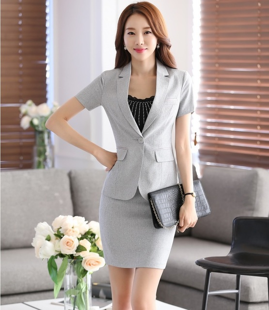 1fb59be03434 Professional Ladies Office Work Suits With Tops And Skirt Fashion Slim Business  Women Short Sleeve Summer