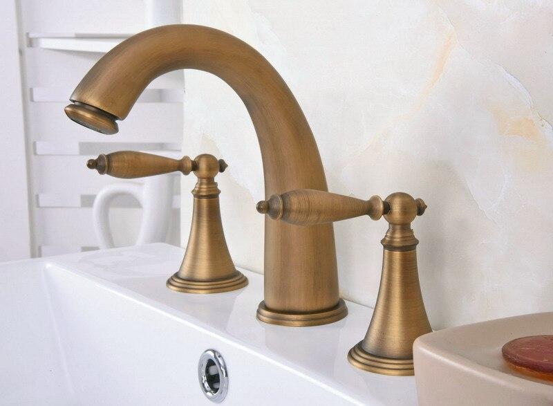 Antique Brass Dual Levers Handles Widespread 3 Hole Install Bathroom Sink Basin Faucet Mixer Taps aan081Antique Brass Dual Levers Handles Widespread 3 Hole Install Bathroom Sink Basin Faucet Mixer Taps aan081