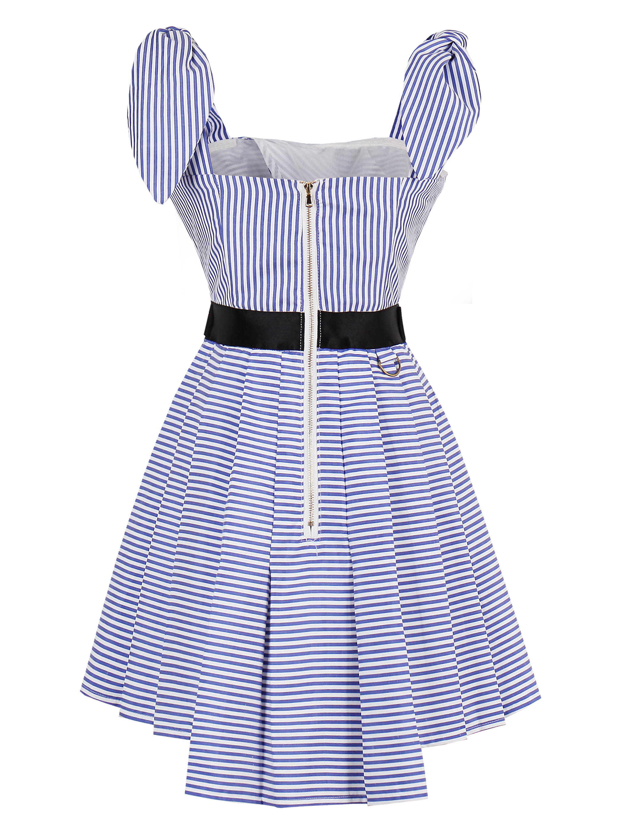 Women A-line Blue Stripe Dress Off Shoulder Belt European Style Sexy Dress Lady Bow Sweater Fashion Summer Mini Dress