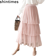 Shintimes Spring And Autumn Plus Size Skirt Tulle Skirts Womens Korean Fashion Elastic High Waist White Pleated Cake