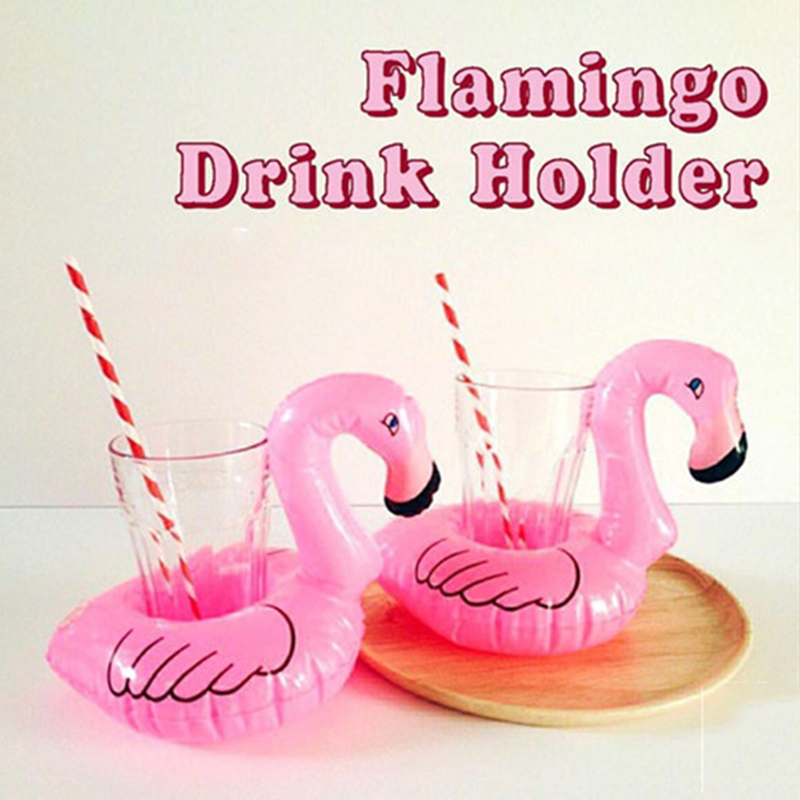 1 Pc Mini Cute Pink Flamingo Drink Holder Pvc Inflatable